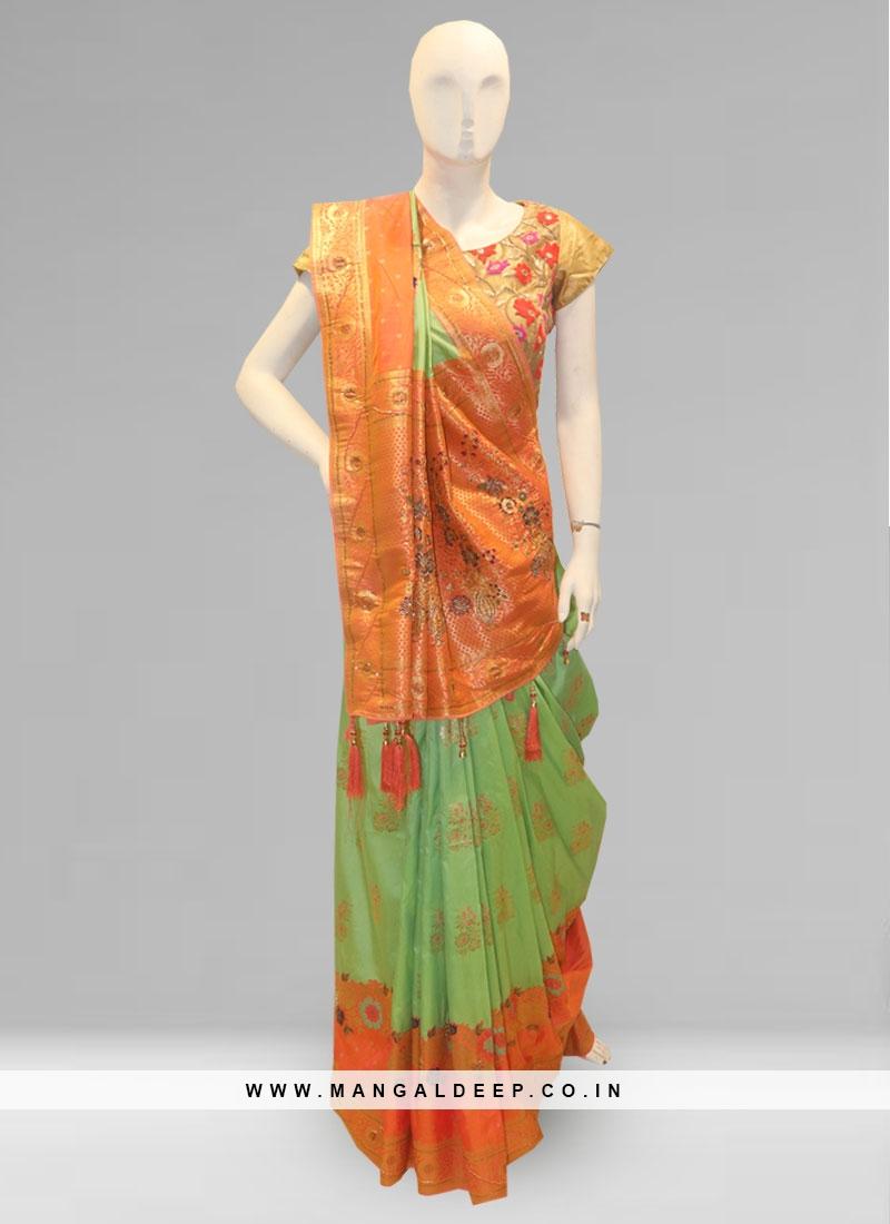 Stunning Green Color Function Wear Designer Saree
