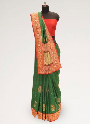Stunning Green Color Party Wear Designer Saree