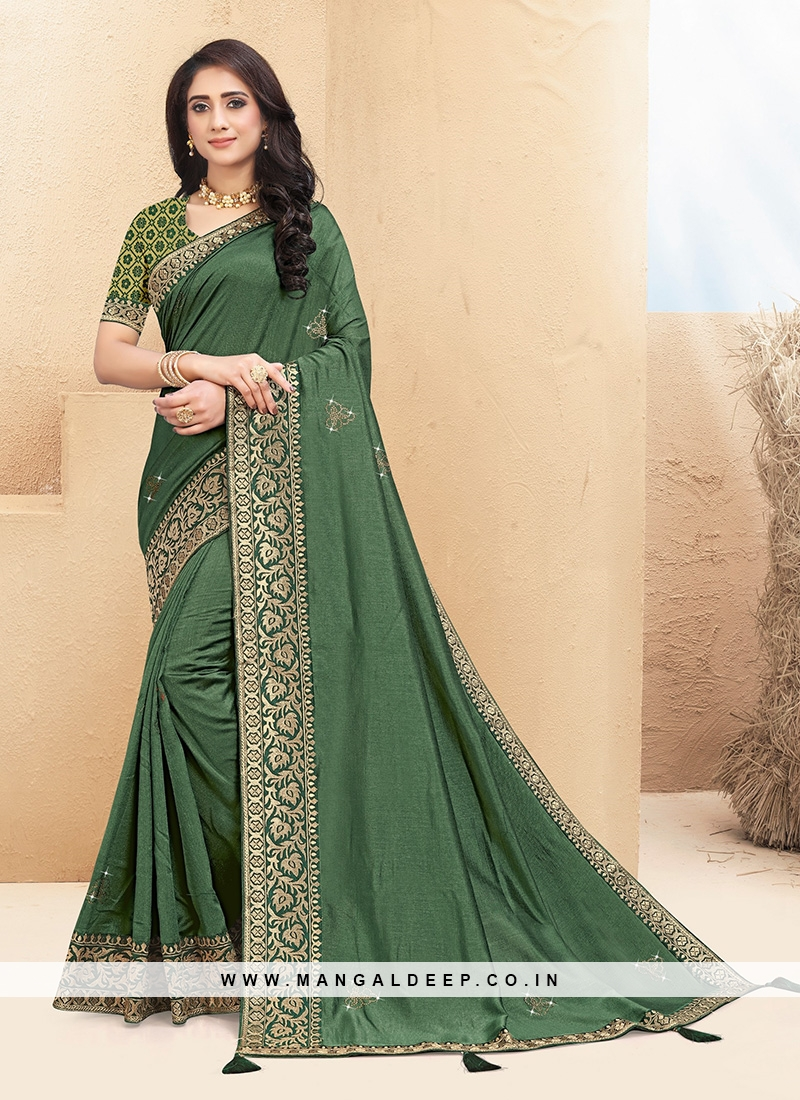 Stunning Green Color Party Wear Saree