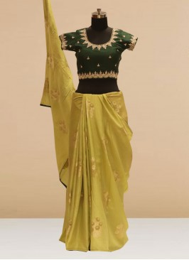 Stunning Green Color Party Wear Silk Saree