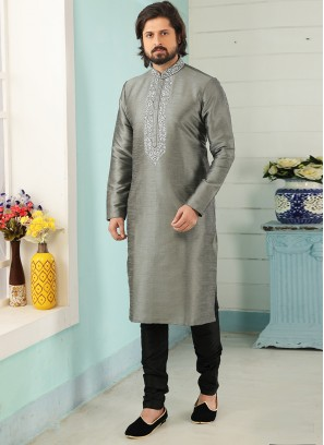 Stunning Grey Color Art Silk Embroidered Kurta Pajama