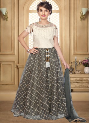 Stunning Grey Color Function Wear Salwar Suit For Kids