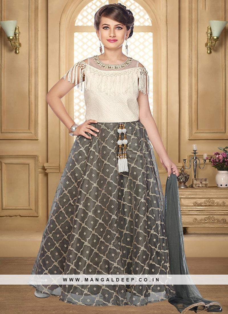 Stunning Grey Color Function Wear Salwar Suit For Kids