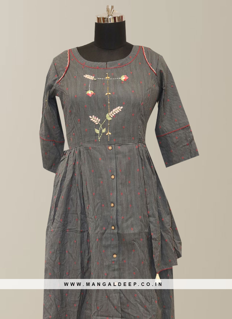 Stunning Grey Color Party Wear Embroidered Kurti
