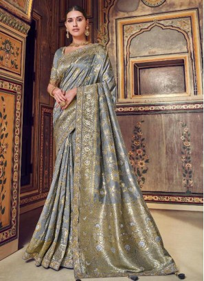 Stunning Grey Color Party Wear Silk Saree