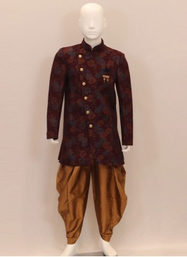 Stunning Maroon Color Festive Wear Kurta Pajama For Kids