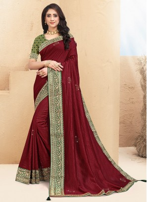 Stunning Maroon Color Party Wear Saree