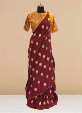 Stunning Maroon Color Party Wear Silk Saree