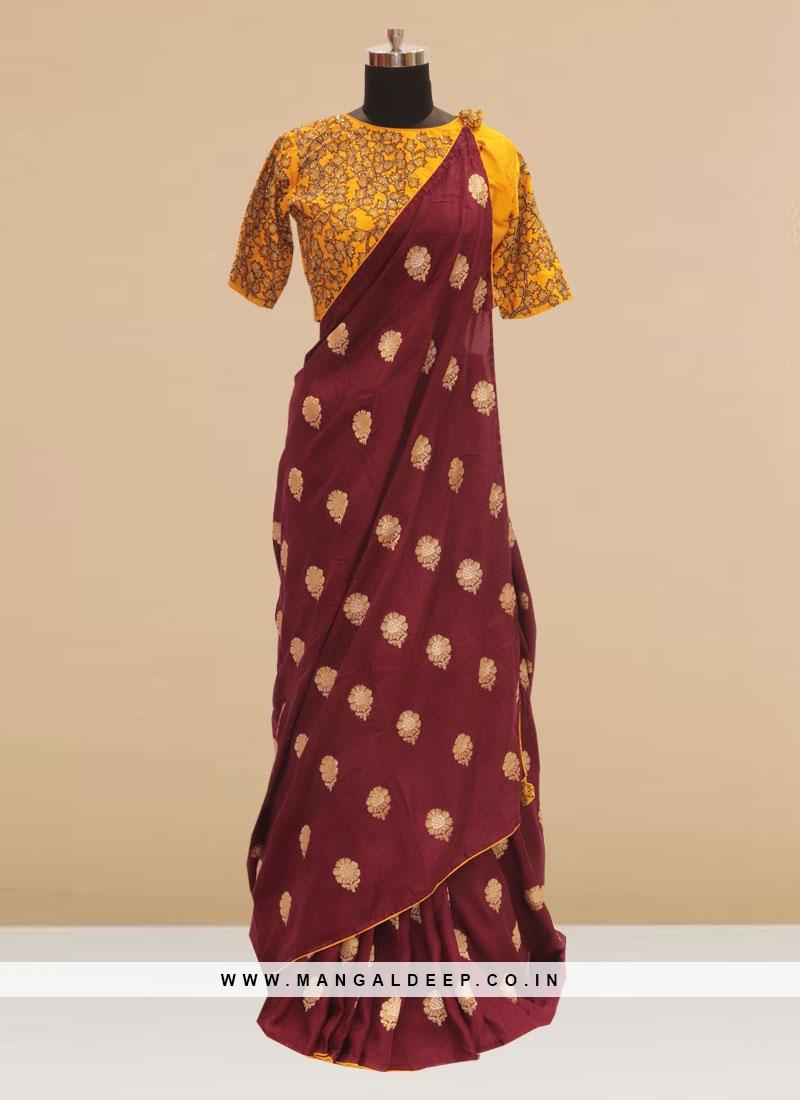 Stunning Maroon Color Party Wear Silk Saree