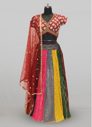 Stunning Multi Color Festive Wear Designer Lehenga Choli
