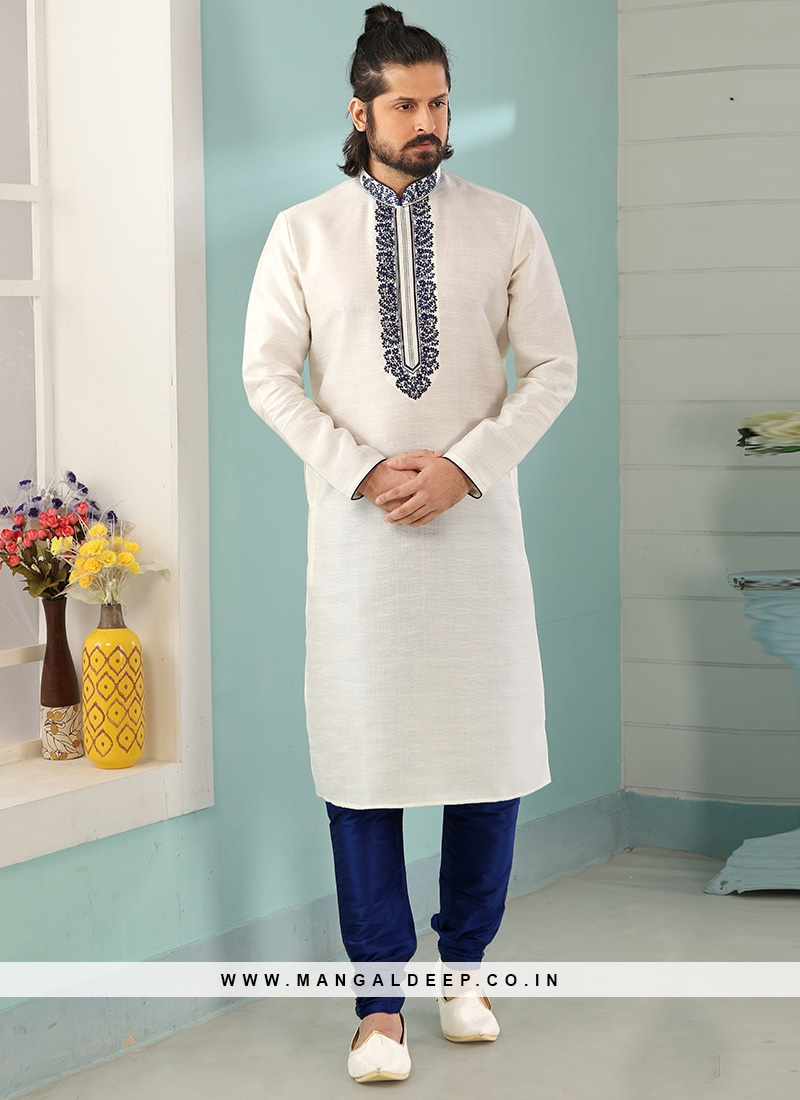 Stunning Off White Color Art Silk Embroidered Kurta Pajama