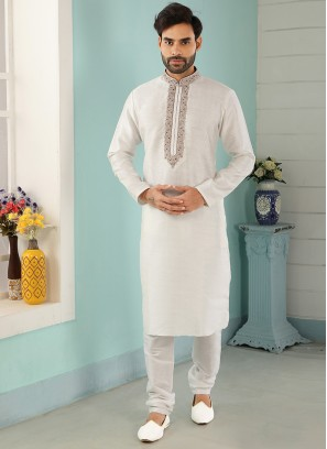 Stunning Off White Color Art Silk Embroidered Kurta Pajama