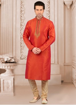 Stunning Orange Color Festive Wear Kurta Payjama