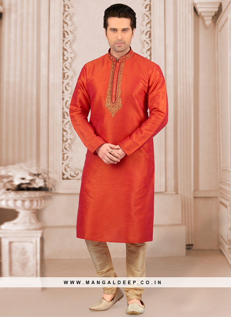 Stunning Orange Color Festive Wear Kurta Payjama