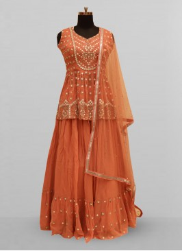 Stunning Orange Color Function Wear Lehenga Choli