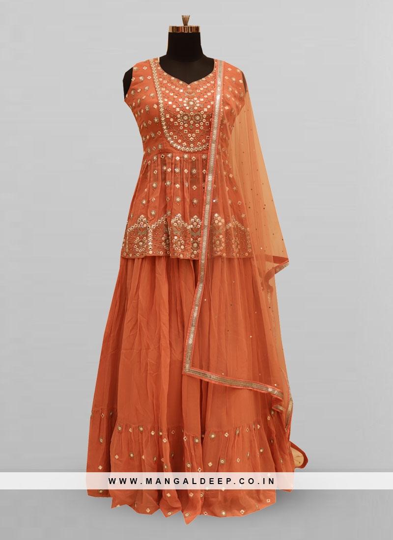 Stunning Orange Color Function Wear Lehenga Choli