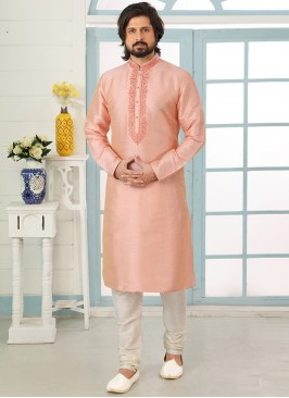 Stunning Peach Color Art Silk Embroidered Kurta Pajama
