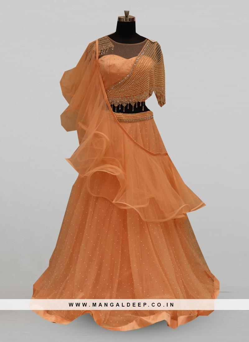 Stunning Peach Color Festive Wear Designer Lehenga Choli