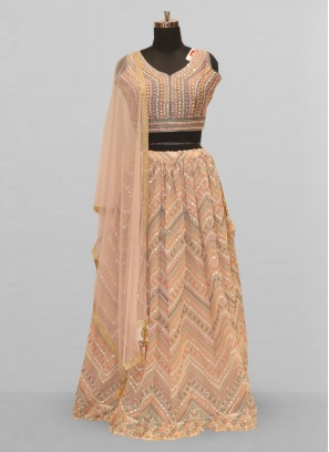 Stunning Peach Color Function Wear Lehenga Choli