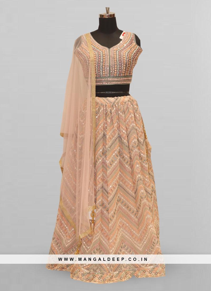 Stunning Peach Color Function Wear Lehenga Choli
