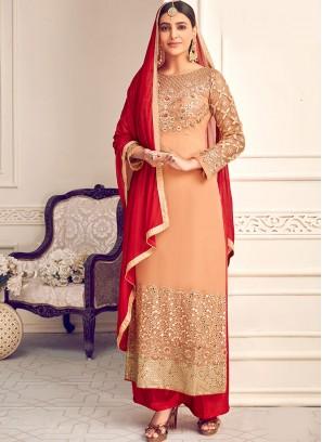 Stunning Peach Color Party Wear Designer Salwar Suit