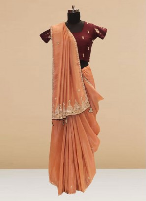 Stunning Peach Color Party Wear Silk Saree