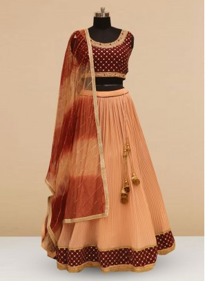 Stunning Peach Color Silk Lehenga Choli