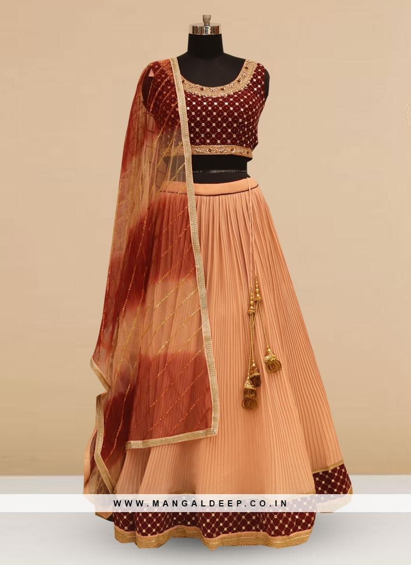 Stunning Peach Color Silk Lehenga Choli