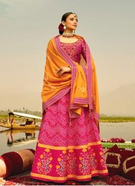 Stunning Pink And Yellow Color Lehenga Choli