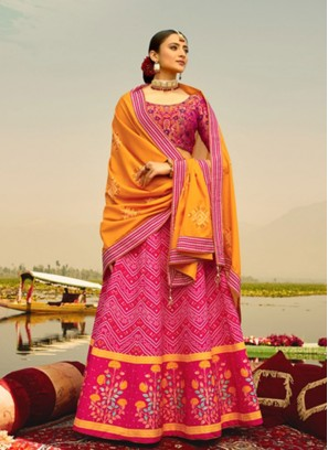 Stunning Pink And Yellow Color Lehenga Choli
