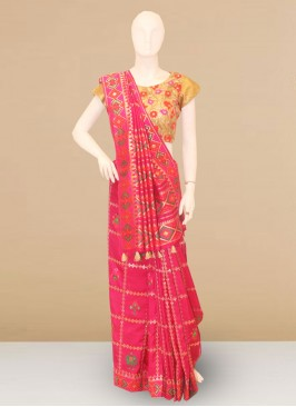 Stunning Pink Color Party Wear Designer Saree