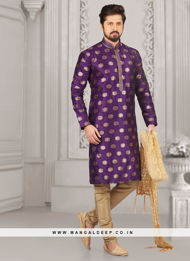 Stunning Purple Color Festive Wear Kurta Payjama