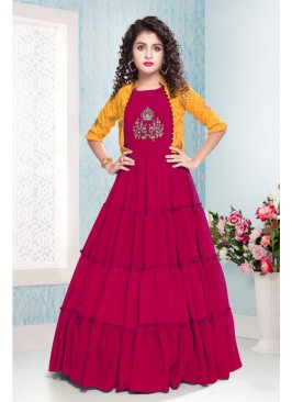 Stunning Rani Color Party Wear Gown For Kids