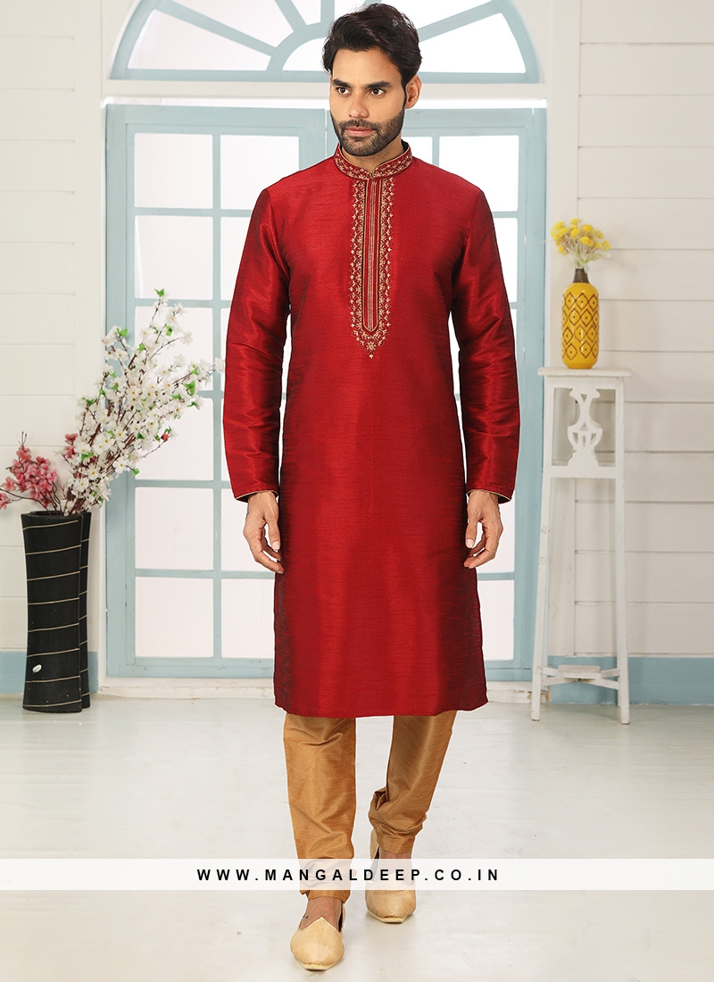 Stunning Red Color Art Silk Embroidered Kurta Pajama