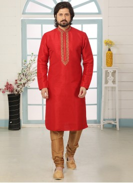 Stunning Red Color Art Silk Embroidered Kurta Pajama