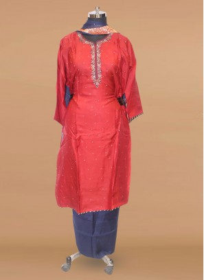 Stunning Red Color Party Wear Designer Salwar Suit