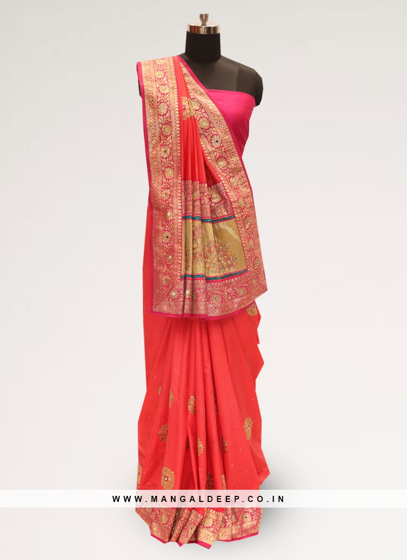 Stunning Red Color Party Wear Designer Saree