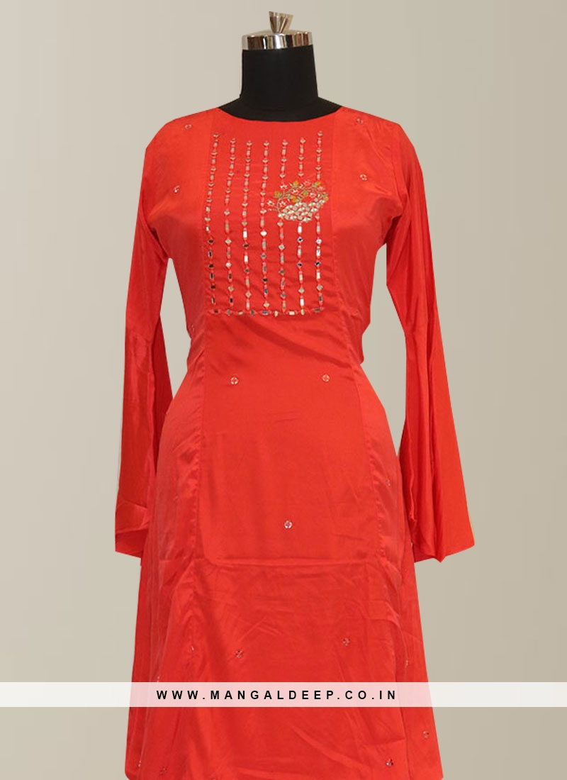 Stunning Red Color Party Wear Embroidered Kurti