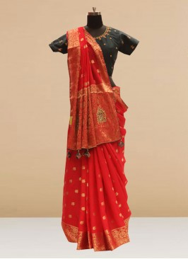 Stunning Red Color Party Wear Silk Saree