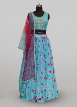 Stunning Sky Blue Color Festive Wear Designer Lehenga Choli