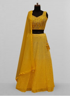 Stunning Yellow Color Function Wear Lehenga Choli