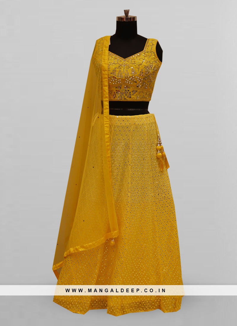 Stunning Yellow Color Function Wear Lehenga Choli
