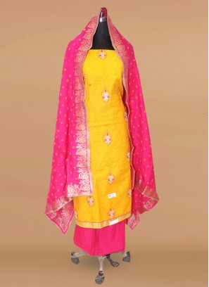 Stunning Yellow Color Party Wear Designer Salwar Suit
