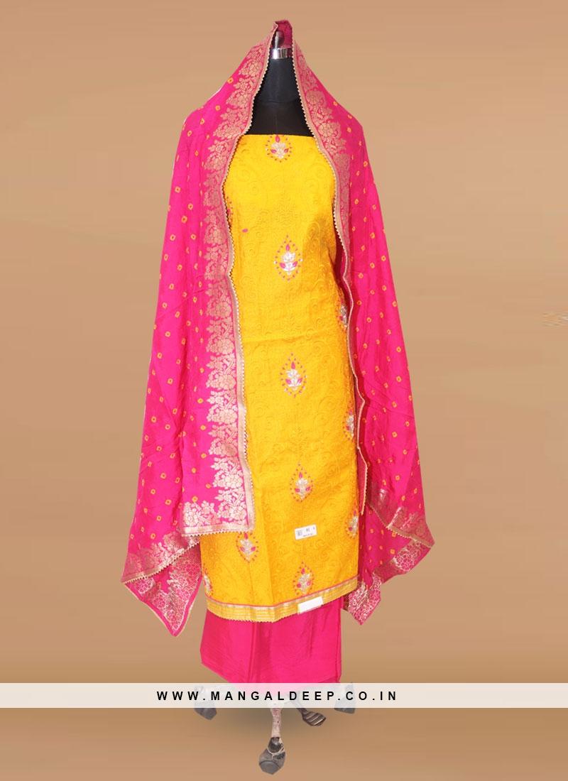 Stunning Yellow Color Party Wear Designer Salwar Suit