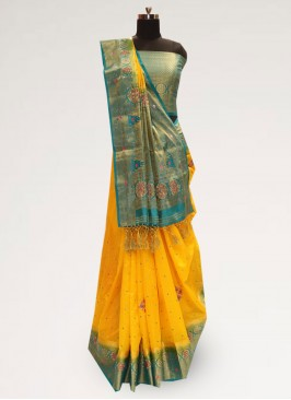 Stunning Yellow Color Party Wear Designer Saree