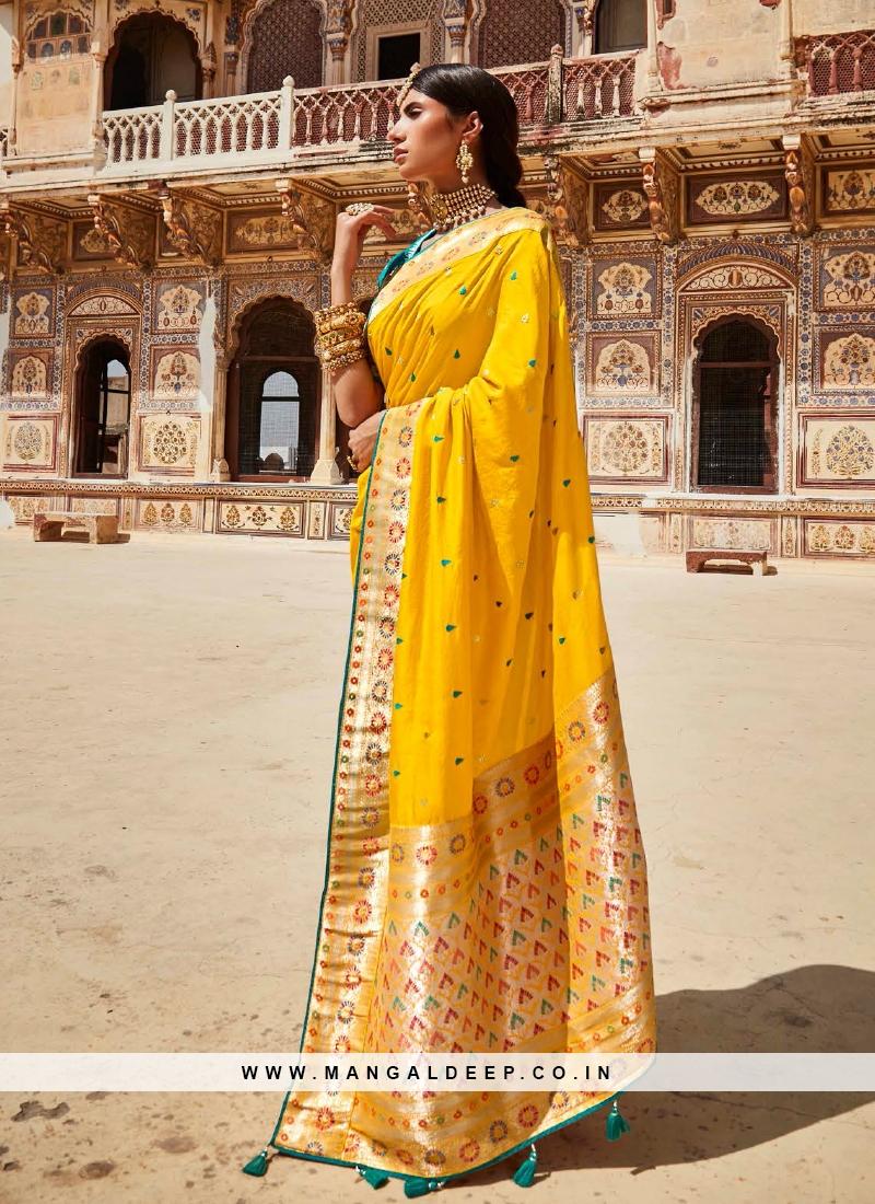 Stunning Yellow Color Silk Saree