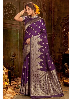 Stylish Banarasi Saree In Purple Color