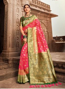 Stylish Banarasi Silk Pink Saree