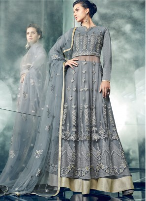 Stylish Grey Embroidered Floor Length Anarkali Suit