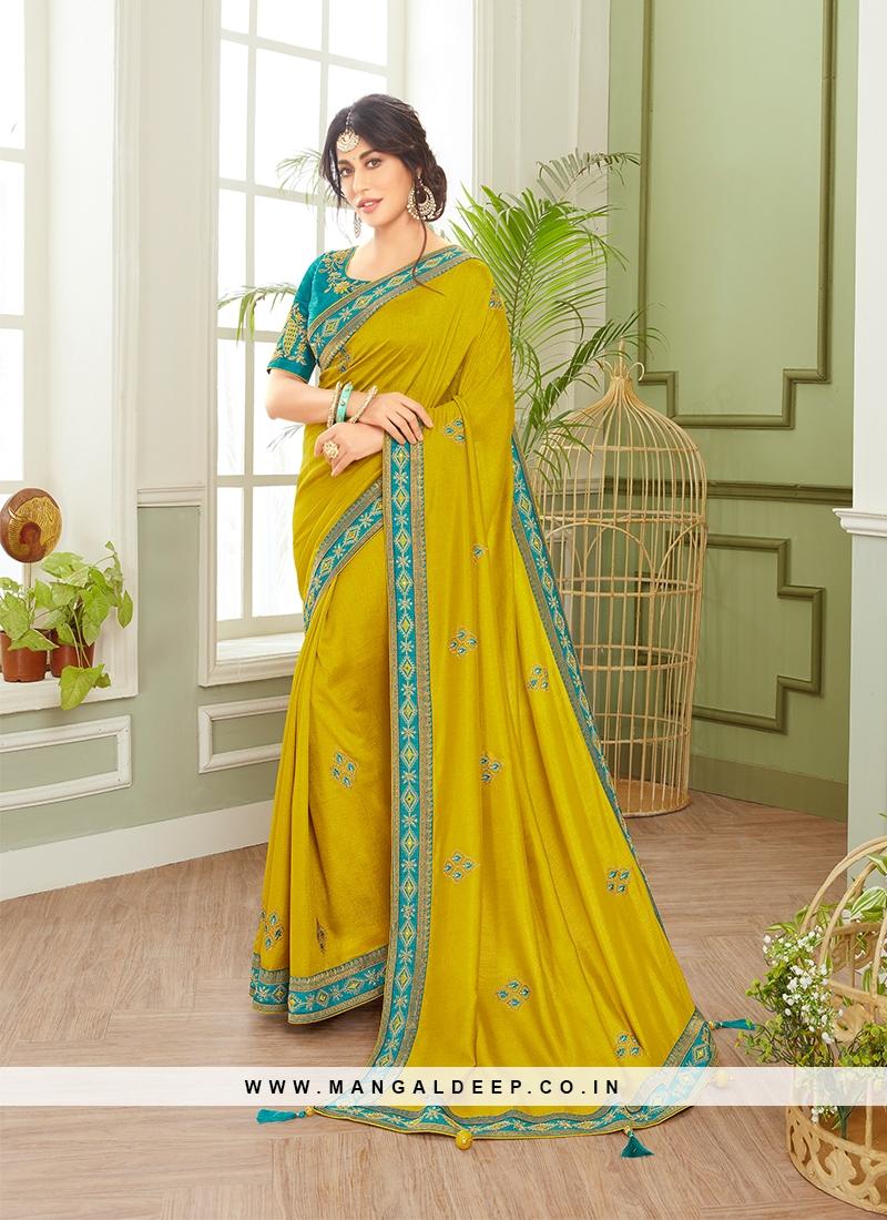 Stylish Mehndi Green Color Saree
